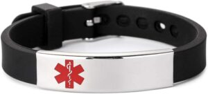 Silicone Cheap  Medical Alert Bracelet ID for Men and Women Adjustable Size (Free Engraving)