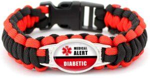 Diabetic Medical ID Bracelet for Men, Women, Kids. Tough Paracord Bracelet Provides Medical Alert for Emergencies