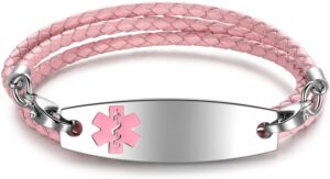 JEWELRY Cheap Medical Alert ID Bracelets for Women 3-Layers Braided Leather Link Bracelets-Free Engraving