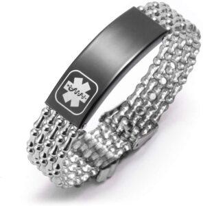 Cheap Medical-Alert-Emergency Bracelet Asthma for Women Medical ID Bracelets Waterproof Free Engraving