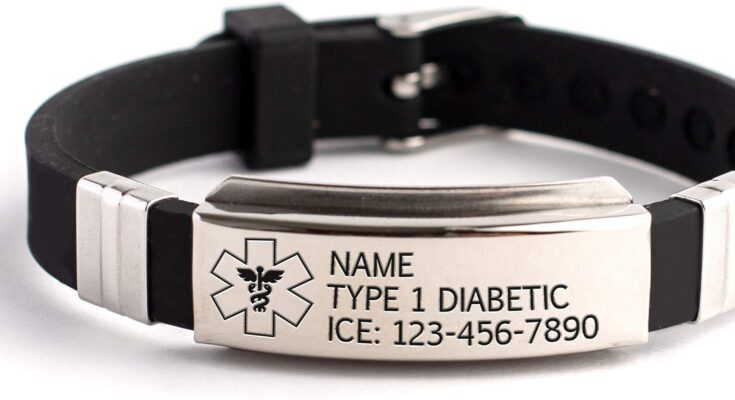 Personalized Medical alert bracelet silicone & steel emergency medical ID bracelet for women, men and kids